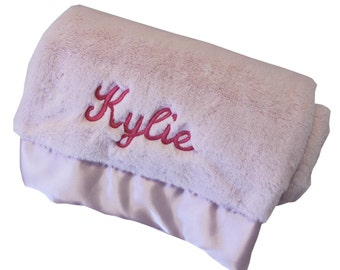 Silky Soft Plush Crib Pink Baby Blanket - Personalized Embroidery