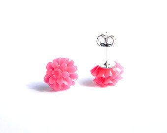 NICKEL FREE Small Pink Chrysanthemum Studded Earrings for Sensitive Ears