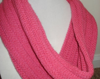 Lightweight Ribbed Cowl in Bright Pink