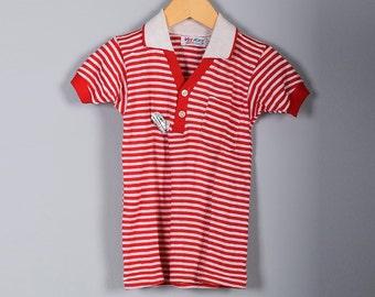 Childrens Vintage Deadstock NOS 50s Boys Red White Stripe Shirt Polo Collared Short Sleeve