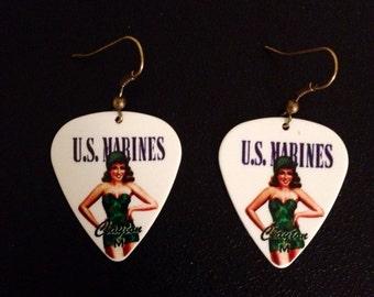 U.S. Marines Guitar Pick Earrings