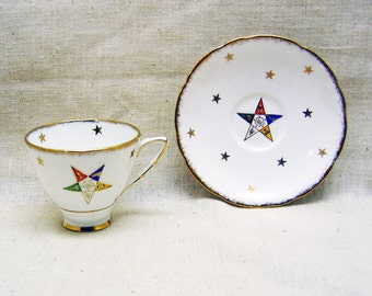 Eastern Star, Royal Stafford Bone China Cup and Saucer, Vintage