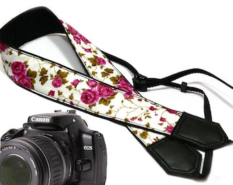 Flowers Camera strap.  Roses camera strap. Pink roses. DSLR / SLR Camera Strap. Camera accessories by InTePro
