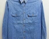 sale Vintage 80s 90s Levis Saddle Man Oren tag Authentic Blue Denim Jean Shirt