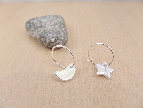 Silver star & moon earrings,  Fine silver star and moon charms on sterling silver hoop earrings, Silver moon charm, silver star charm