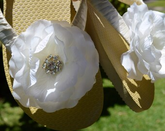 IVORY Bridal Flip Flops with flower & rhinestones