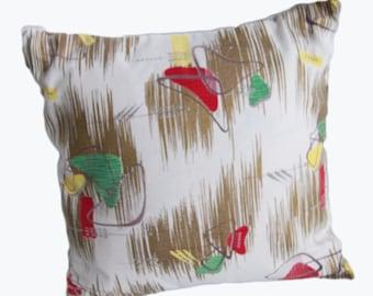 Atomic Boomerang Mid century barkcloth 18x18 Handmade Pillow Cover .