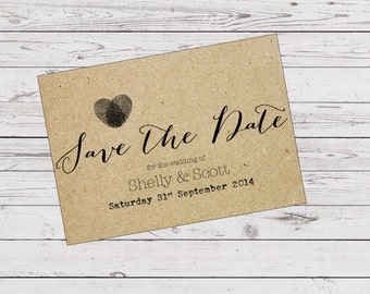 Custom Printable Save the Date - fingerprint heart design