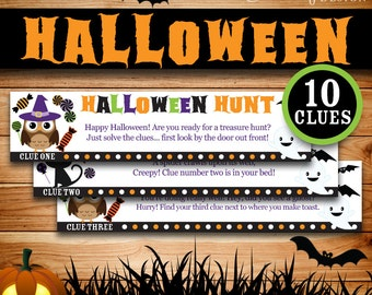 Halloween Games, Halloween Treasure Hunt: Printable clues, Halloween Activities, Kids Rhyming riddle clues  (Instant digital download - PDF)