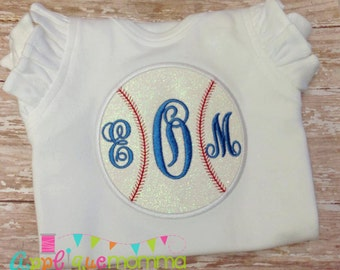 Monogram Baseball Applique Design
