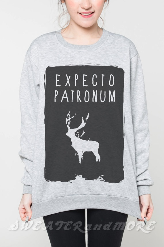 Expecto Patronum Sweatshirt Harry Potter Book of Spells T-Shirt Women Grey Tee Unisex Shirt Sweater Jumper Tshirts Size S M L