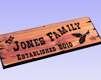 Personalized Custom Carved Cedar Wood Sign - Rustic Plaque Last Name Address Home Decor Wedding gift Housewarming