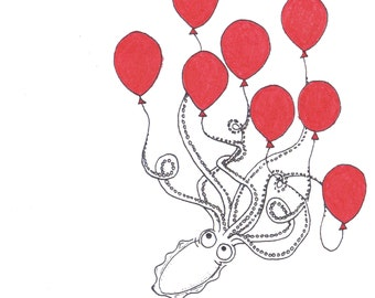 Squid with Balloons Card
