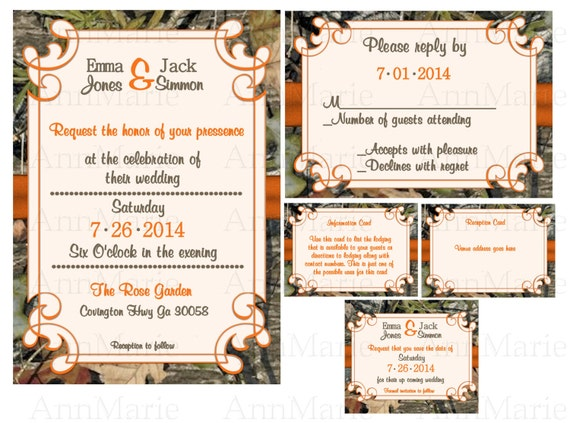 Items Similar To Mossy Oak Wedding Invitation Set Camo Wedding Invitation Template Orange With
