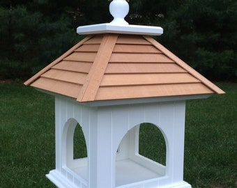 Fly Through Bird feeder with Cedar Roof, PVC construction