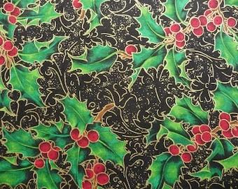 Elegant Christmas Quilt Fabric, Fabric Freedom F881 Baroque Christmas, Black Christmas Fabric, Green Holly, Metallic Gold Christmas, Cotton
