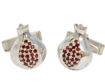 Sterling Silver Pomegranate Garnet Cufflinks