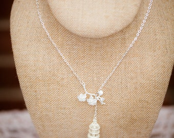 Bird Cage and Cherry Blossom Necklace (The Kimiko)