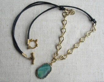 Leather and chain necklace
