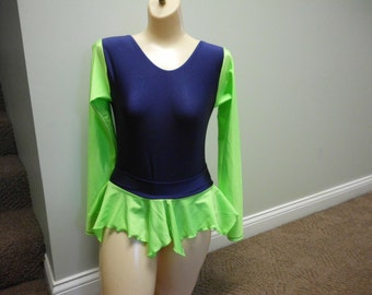 TWO PIECE two tone leo and skirt  your color choice  leotard and skirt  YOUTH  custom made leotard lyrical   gymanstic comeptition skating