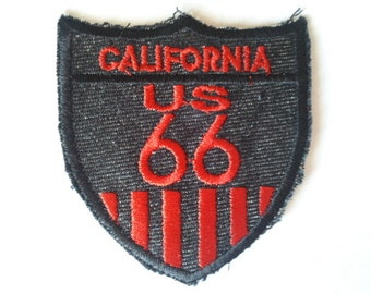 California Route 66 Black applique iron on patch