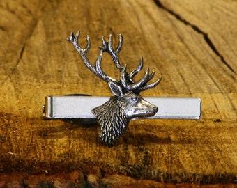 Stag Buck Deer Tie Clip Tack Slide UK Pewter Gift