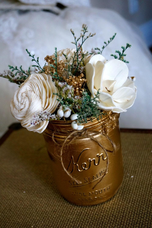 Mason jar centerpiece sola flower shabby chic