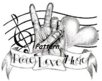 Peace, Love, Music. Cross Stitch Pattern. PDF Files.