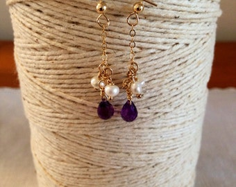 14k gold filled amethyst and pearl drop earrings