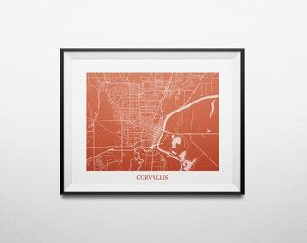 Corvallis, Oregon Abstract Street Map Print