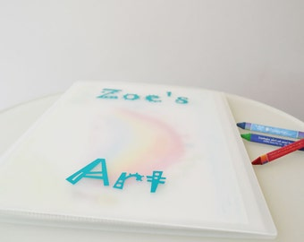 """Whimsical Design 9""""x12"""" Personalized Portfolio to organize kids art and paperwork"""