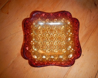 """Antique Amberina """"Daisy and Button"""" Candy Dish~Price Reduced"""