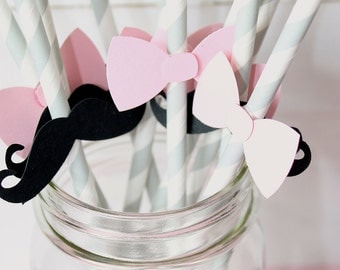 Gender Reveal Straws- Mustache Straws- Pink Bow Straws- Gender Reveal Baby Shower, Party Decor