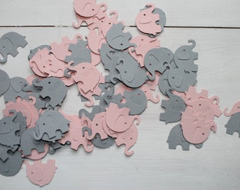 Elephant Confetti- Light Pink and Grey Elephant Confetti- Baby Shower Decor, Party Decor