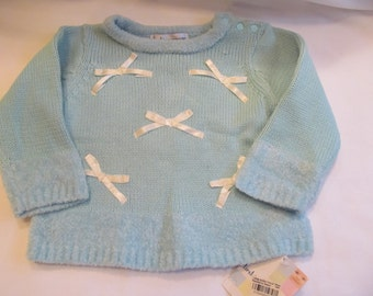 Toddler Bow  Sweater  12 month light blue , new