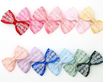 Baby Hair Clips-Satin bow clip with lace decoration. Handmade