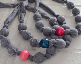 Gray knotted fabric wooden bead necklace