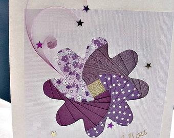 handmade iris fold   card – thank you