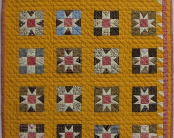 Miniature Cheddar Stars Over Moab   Antique Quilt Pattern