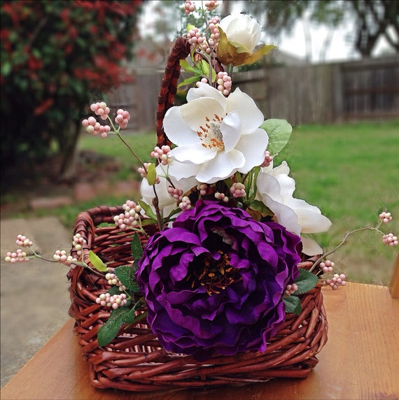 Flower Girl Gift Baskets : Items similar to flower girl basket with purple peony and