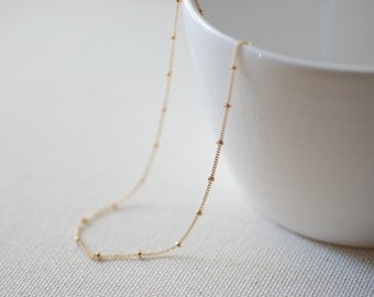 14k Gold Filled Beaded Necklace, Gold Choker Necklace, Gold Satellite Chain, Dew Drops Necklace, Minimalist Necklace,gold beaded chain