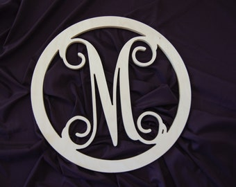 20 inch Wooden monogram wall hanging wreath nursery wall decor Unpainted