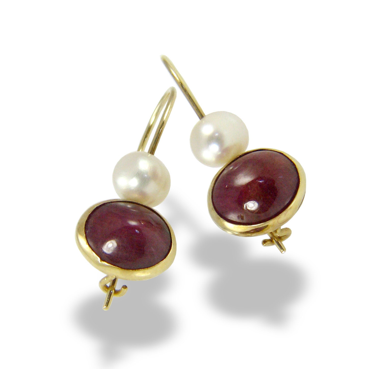 ruby pearl gold earrings freshwater pearl gold earrings