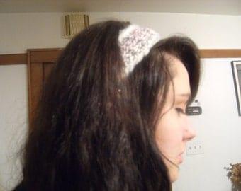 Gypsy/Boho Hand Crocheted White, Pink, Light Gray Head Band