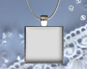 Digital Photo Template for bezel silver square pendant with snake chain on blue background. No graphics tool needed. Ask me How.  350