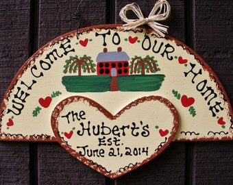PERSONALIZED FAMILY NAME Welcome To Our Home Est. Date Sign Country Wood Crafts Handcrafted Handpaineted Plaque