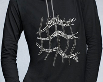 Hoodie with hand-drawn design, 100% cotton