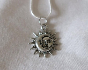 Sun & Moon Silver Plated Necklace.18, 16 or 20 inches!