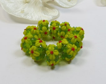 10 Green with Yellow Flowers Lampwork Glass Beads - DESTASH, Lime Yellow Lampwork Beads, Destash Lampwork Beads, Flower Beads
