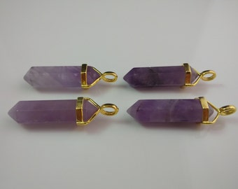 Double Terminated Amethyst Pendant Point Bead Polished Purple Gemstone Prism Amethyst Quartz pendant Wholesale Gold&Silver Bail you choose